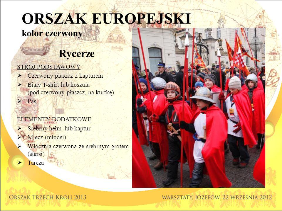 ORSZAK EUROPEJSKI kolor czerwony Rycerze STRÓJ PODSTAWOWY Czerwony płaszcz z kapturem Biały T-shirt lub koszula (pod czerwony płaszcz, na kurtkę) Pas