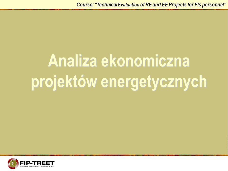 Course: Technical Evaluation of RE and EE Projects for FIs personnel Kryterium zdyskontowanych kosztów całkowitych (DTC) Kryterium zdyskontowanych kosztów całkowitych jest uproszczoną formą kryterium obecnej wartości netto, odpowiadającą sytuacji, w której analizowane rozwiązania, jednakowe z punktu widzenia generowanych efektów (produkcji), generują także przychody o jednakowej wartości gdzie CT i : całkowite koszty projektu inwestycyjnego w roku i C i : koszty bieżące (oprócz amortyzacji) A i : sumy płacone z tytułu zwrotu pożyczek I i : wydatki kapitałowe ze środków własnych w roku i a : przyjęta stopą dyskontowania t : okres badawczy dla obliczania zdyskontowanych kosztów całkowitych