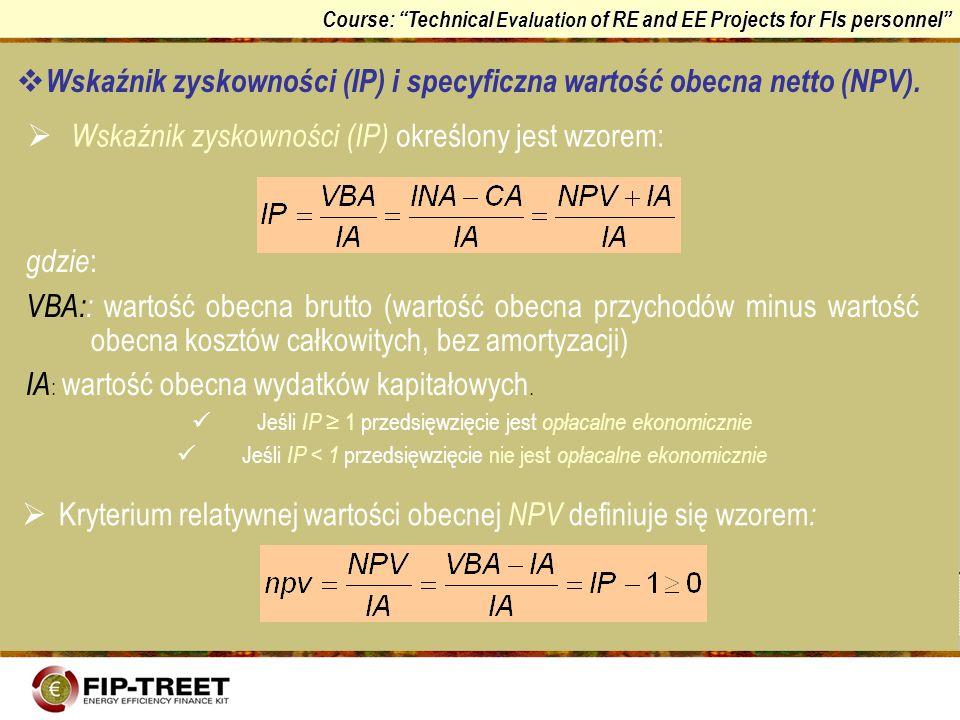 Course: Technical Evaluation of RE and EE Projects for FIs personnel Wskaźnik zyskowności (IP) i specyficzna wartość obecna netto (NPV). Wskaźnik zysk