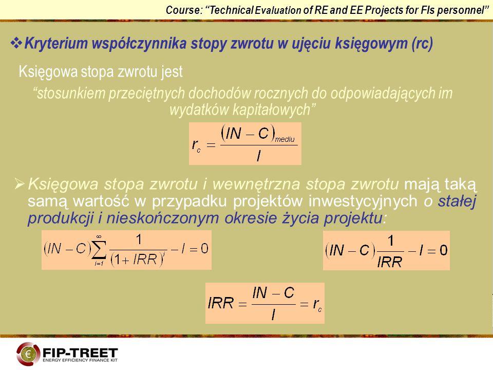 Course: Technical Evaluation of RE and EE Projects for FIs personnel Kryterium współczynnika stopy zwrotu w ujęciu księgowym (rc) Księgowa stopa zwrot