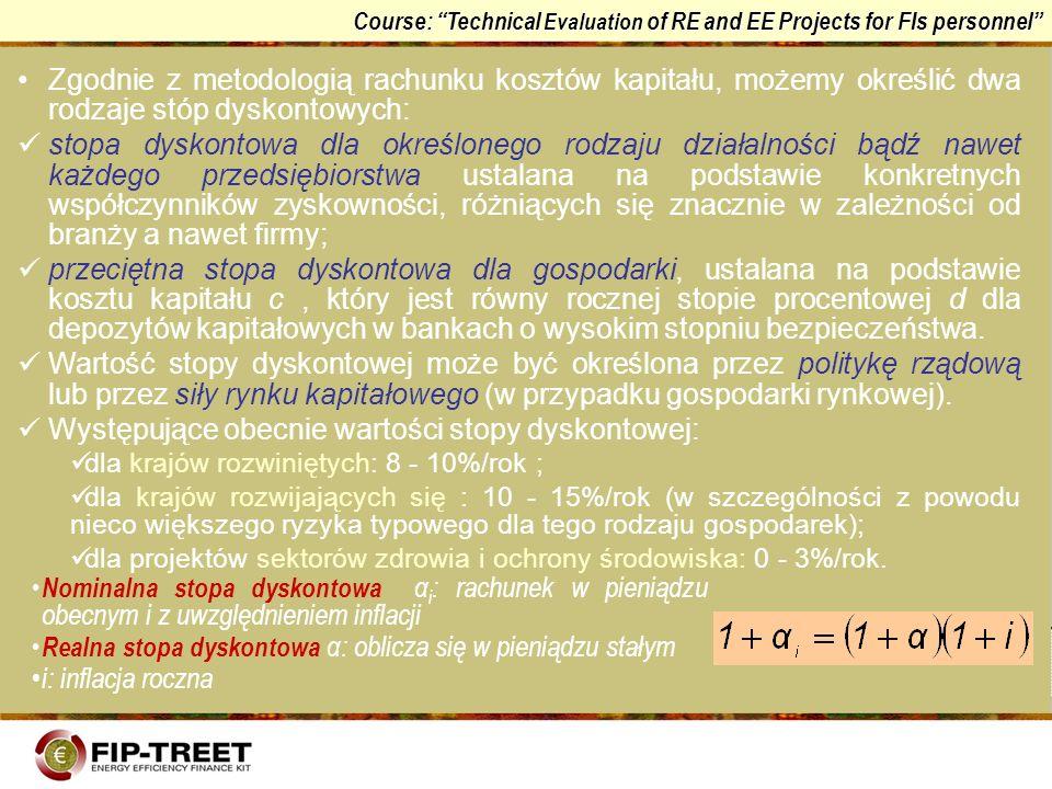 Course: Technical Evaluation of RE and EE Projects for FIs personnel Zgodnie z metodologią rachunku kosztów kapitału, możemy określić dwa rodzaje stóp