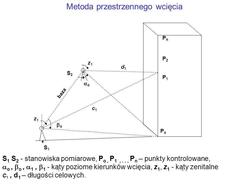 Metoda przestrzennego wcięcia S1S1 S2S2 PnPn PoPo P1P1 P2P2 z1z1 o o z1z1 baza S 1 S 2 - stanowiska pomiarowe, P o, P 1,.., P n – punkty kontrolowane,