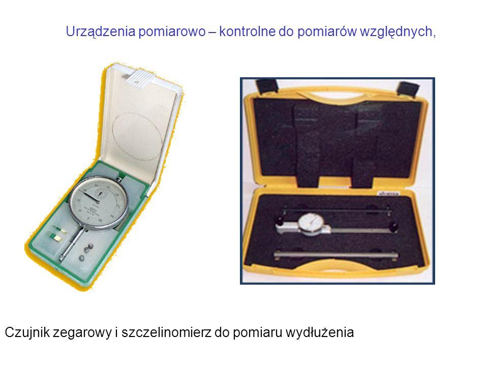Urządzenia pomiarowo – kontrolne do pomiarów względnych, Czujnik zegarowy i szczelinomierz do pomiaru wydłużenia
