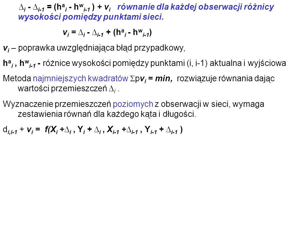 i - i-1 = (h a i - h w i-1 ) + v i równanie dla każdej obserwacji różnicy wysokości pomiędzy punktami sieci. v i = i - i-1 + (h a i - h w i-1 ) v i –