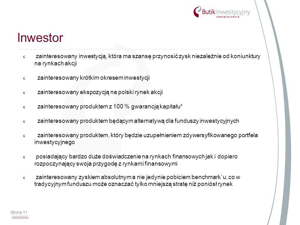 zainteresowany inwestycją, która ma szansę przynosić zysk niezależnie od koniunktury na rynkach akcji zainteresowany krótkim okresem inwestycji zainteresowany ekspozycją na polski rynek akcji zainteresowany produktem z 100 % gwarancją kapitału* zainteresowany produktem będącym alternatywą dla funduszy inwestycyjnych zainteresowany produktem, który będzie uzupełnieniem zdywersyfikowanego portfela inwestycyjnego posiadający bardzo duże doświadczenie na rynkach finansowych jak i dopiero rozpoczynający swoja przygodę z rynkami finansowymi zainteresowany zyskiem absolutnym a nie jedynie pobiciem benchmark`u, co w tradycyjnym funduszu może oznaczać tylko mniejszą stratę niż poniósł rynek Inwestor Strona 11