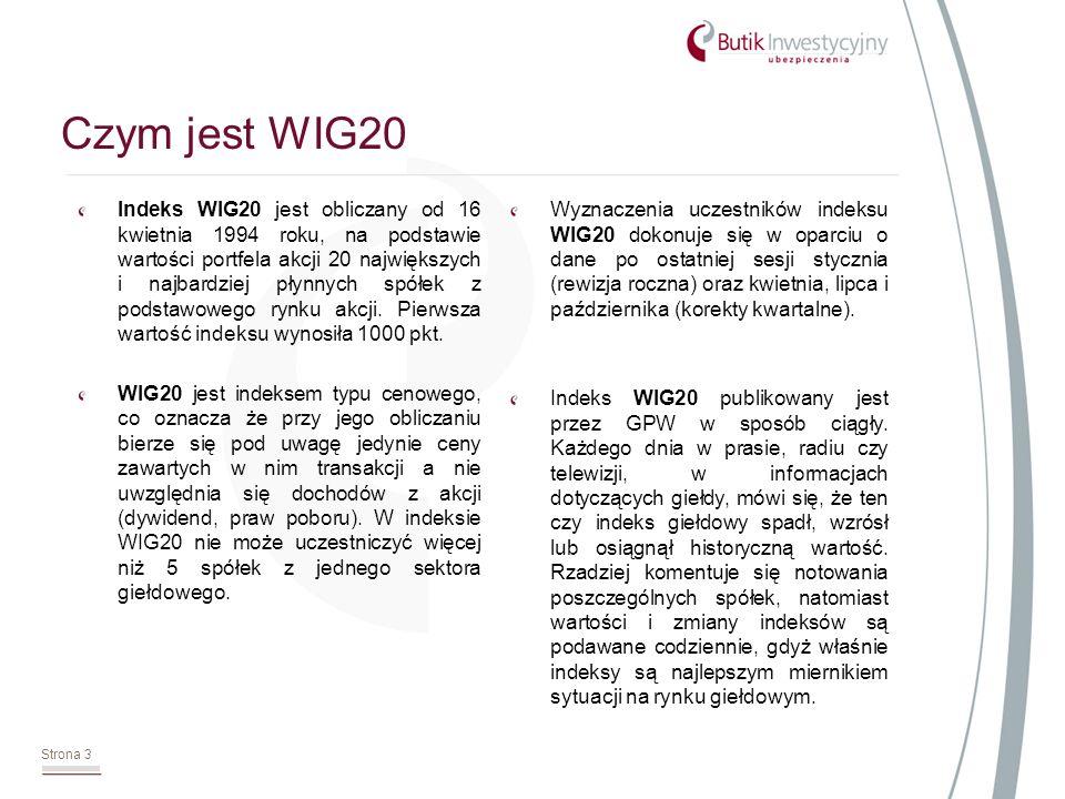 Indeks WIG20 jest obliczany od 16 kwietnia 1994 roku, na podstawie wartości portfela akcji 20 największych i najbardziej płynnych spółek z podstawowego rynku akcji.