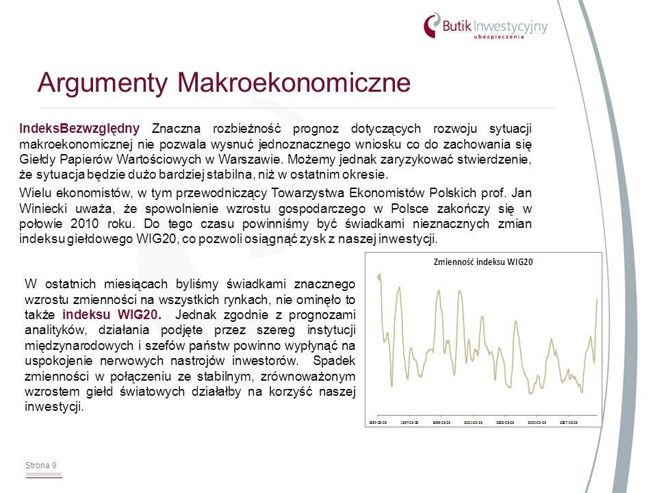 IndeksBezwzględny Znaczna rozbieżność prognoz dotyczących rozwoju sytuacji makroekonomicznej nie pozwala wysnuć jednoznacznego wniosku co do zachowania się Giełdy Papierów Wartościowych w Warszawie.