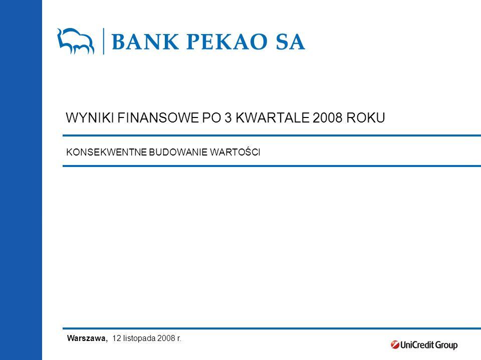 WYNIKI FINANSOWE PO 3 KWARTALE 2008 ROKU Warszawa, 12 listopada 2008 r.