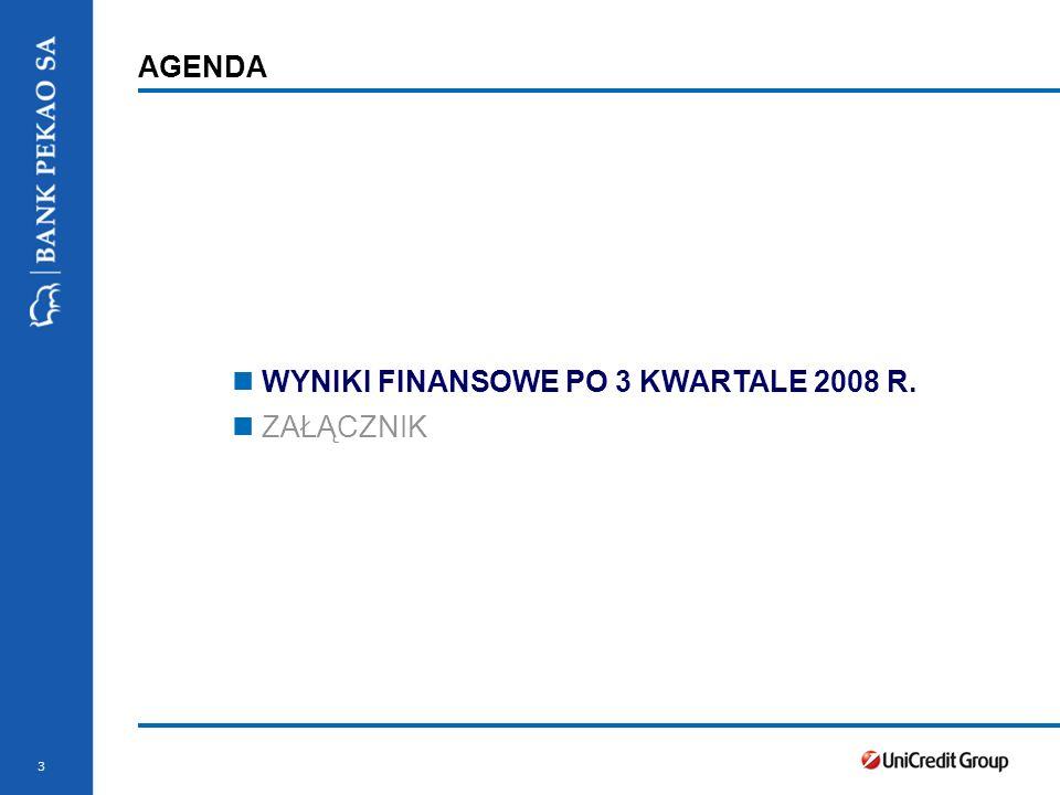 3 AGENDA WYNIKI FINANSOWE PO 3 KWARTALE 2008 R. ZAŁĄCZNIK