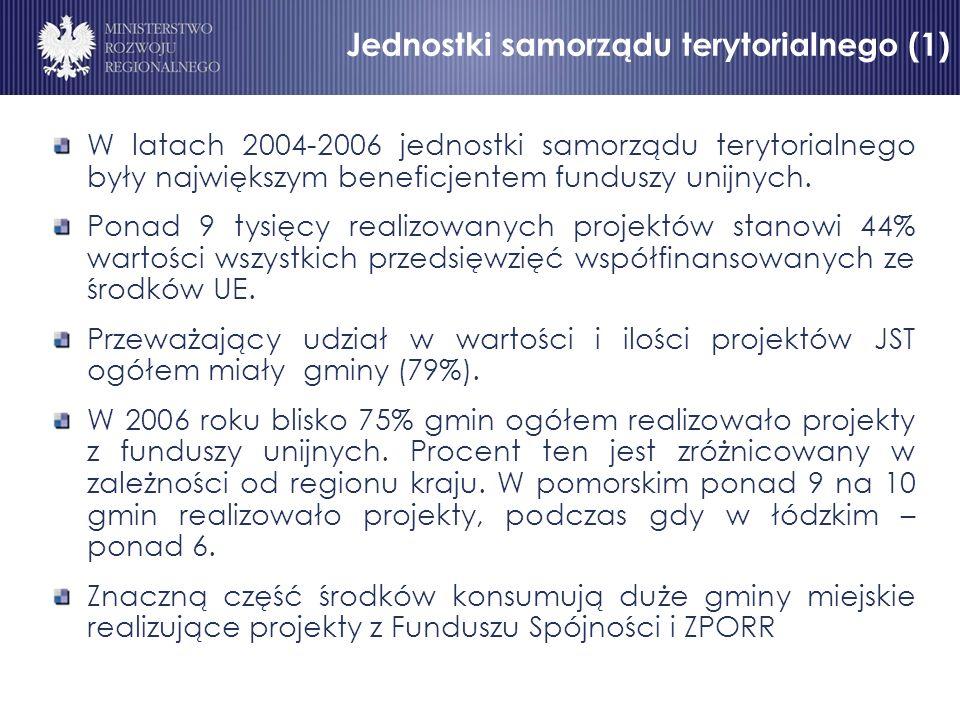 Jednostki samorządu terytorialnego (1) W latach 2004-2006 jednostki samorządu terytorialnego były największym beneficjentem funduszy unijnych.