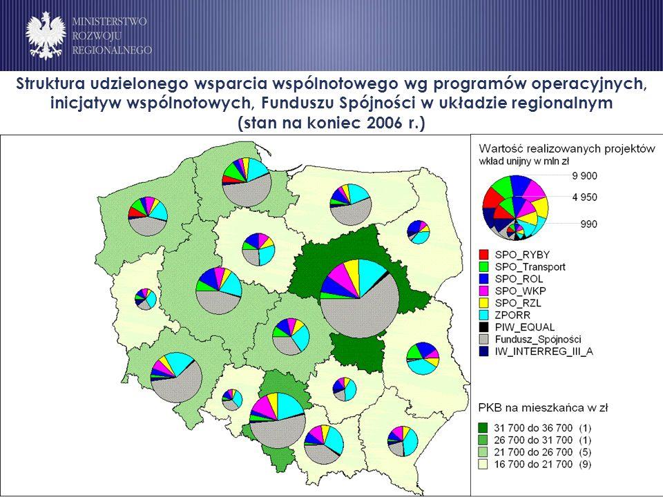 Struktura udzielonego wsparcia wspólnotowego wg programów operacyjnych, inicjatyw wspólnotowych, Funduszu Spójności w układzie regionalnym (stan na koniec 2006 r.)