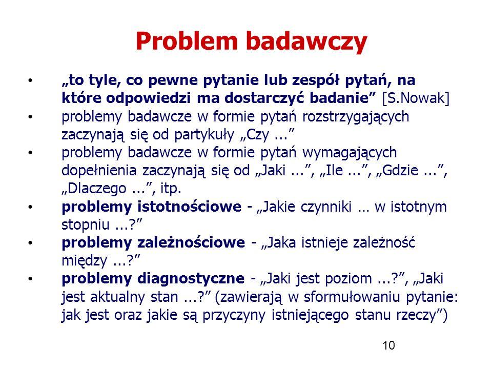 10 Problem badawczy to tyle, co pewne pytanie lub zespół pytań, na które odpowiedzi ma dostarczyć badanie [S.Nowak] problemy badawcze w formie pytań r