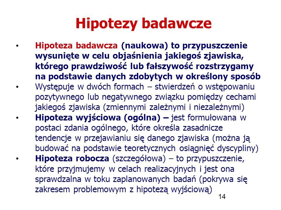 14 Hipotezy badawcze Hipoteza badawcza (naukowa) to przypuszczenie wysunięte w celu objaśnienia jakiegoś zjawiska, którego prawdziwość lub fałszywość