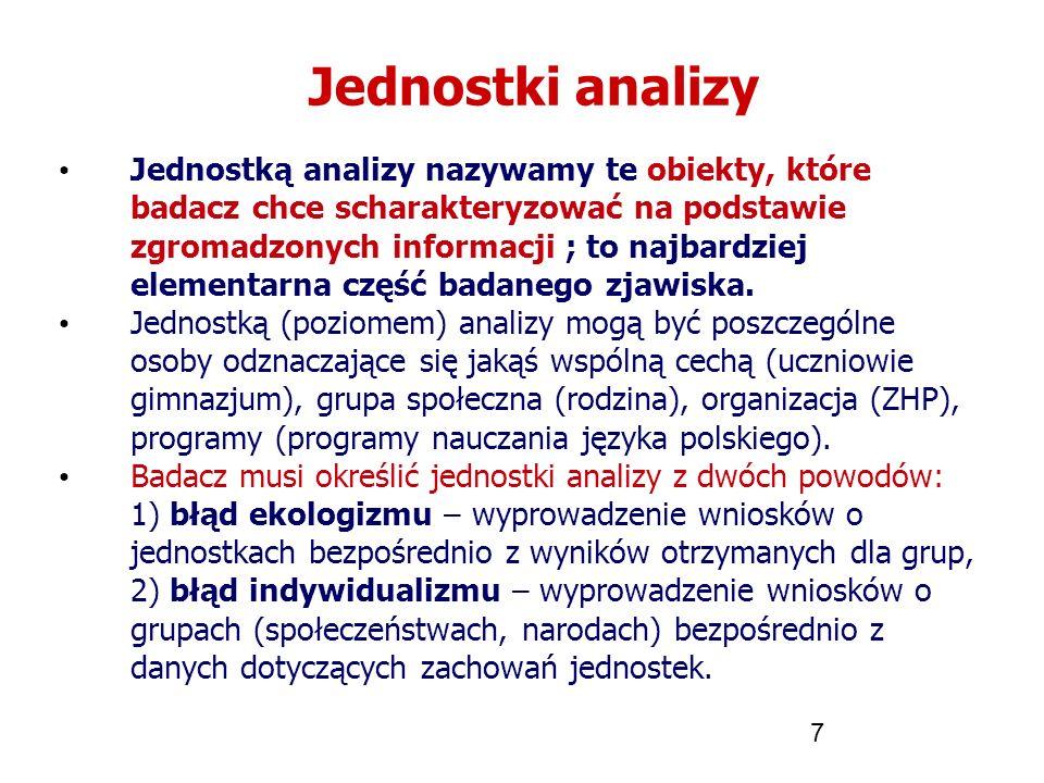 7 Jednostki analizy Jednostką analizy nazywamy te obiekty, które badacz chce scharakteryzować na podstawie zgromadzonych informacji ; to najbardziej e