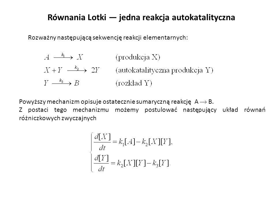 Równania Lotki jedna reakcja autokatalityczna Rozważny następującą sekwencję reakcji elementarnych: Powyższy mechanizm opisuje ostatecznie sumaryczną