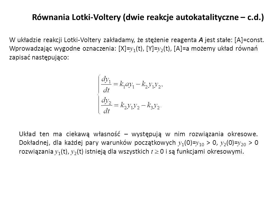 Równania Lotki-Voltery (dwie reakcje autokatalityczne – c.d.) W układzie reakcji Lotki-Voltery zakładamy, że stężenie reagenta A jest stałe: [A]=const