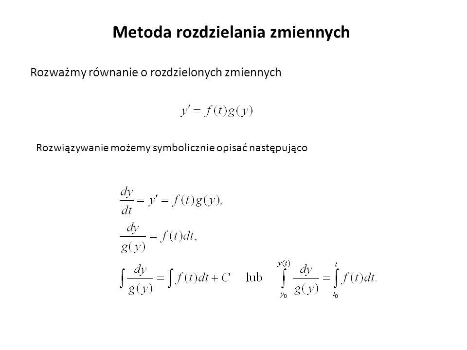 W ogólnym przypadku możemy mieć n wielkości (niewiadomych) funkcji y 1 (t),…, y n (t), których ewolucja czasowa jest powiązana.