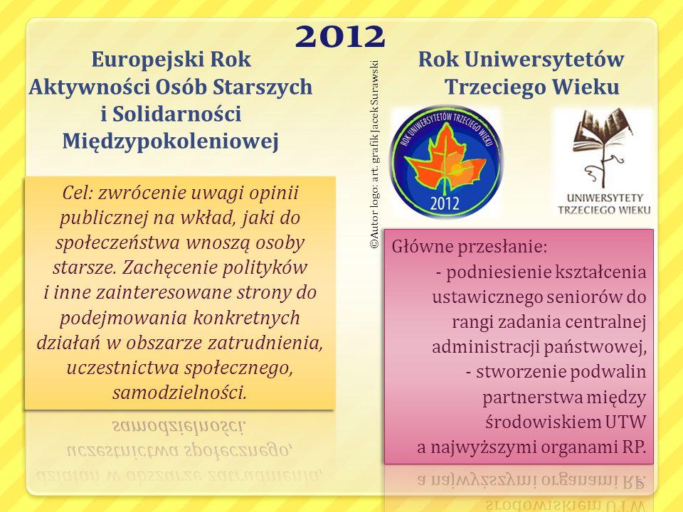 2012 Europejski Rok Aktywności Osób Starszych i Solidarności Międzypokoleniowej Rok Uniwersytetów Trzeciego Wieku 5 ©Autor logo: art. grafik Jacek Sur