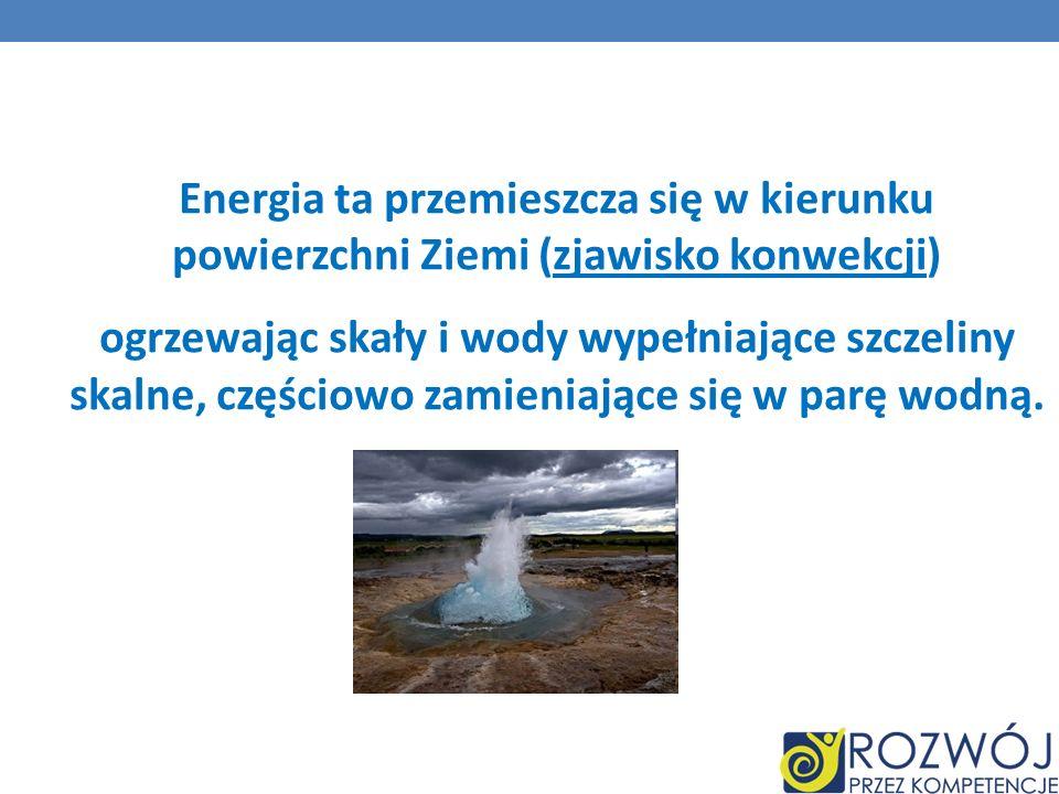 Energia ta przemieszcza się w kierunku powierzchni Ziemi (zjawisko konwekcji) ogrzewając skały i wody wypełniające szczeliny skalne, częściowo zamieni