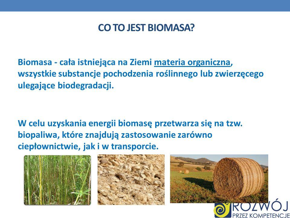 CO TO JEST BIOMASA? Biomasa - cała istniejąca na Ziemi materia organiczna, wszystkie substancje pochodzenia roślinnego lub zwierzęcego ulegające biode