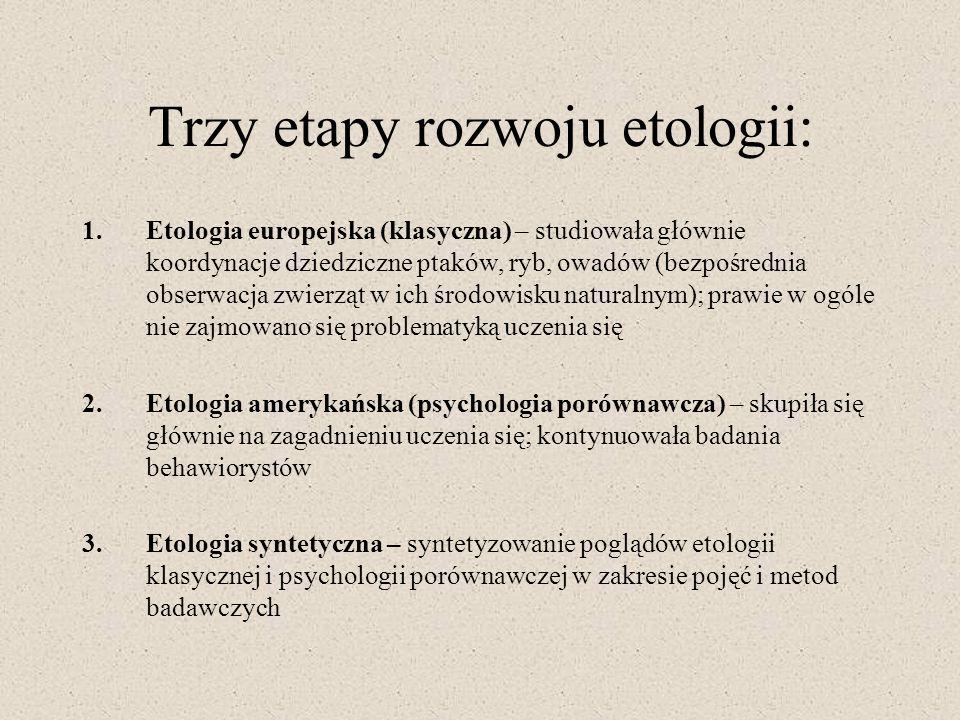 Trzy etapy rozwoju etologii: 1.Etologia europejska (klasyczna) – studiowała głównie koordynacje dziedziczne ptaków, ryb, owadów (bezpośrednia obserwac