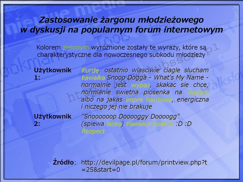 Zastosowanie żargonu młodzieżowego w dyskusji na popularnym forum internetowym Użytkownik 1: Kurde, ostatnio wlasciwie ciagle slucham kawalka Snoop Do