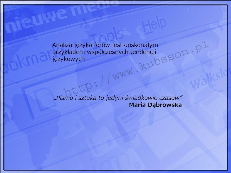 Analiza języka forów jest doskonałym przykładem współczesnych tendencji językowych Pismo i sztuka to jedyni świadkowie czasów Maria Dąbrowska