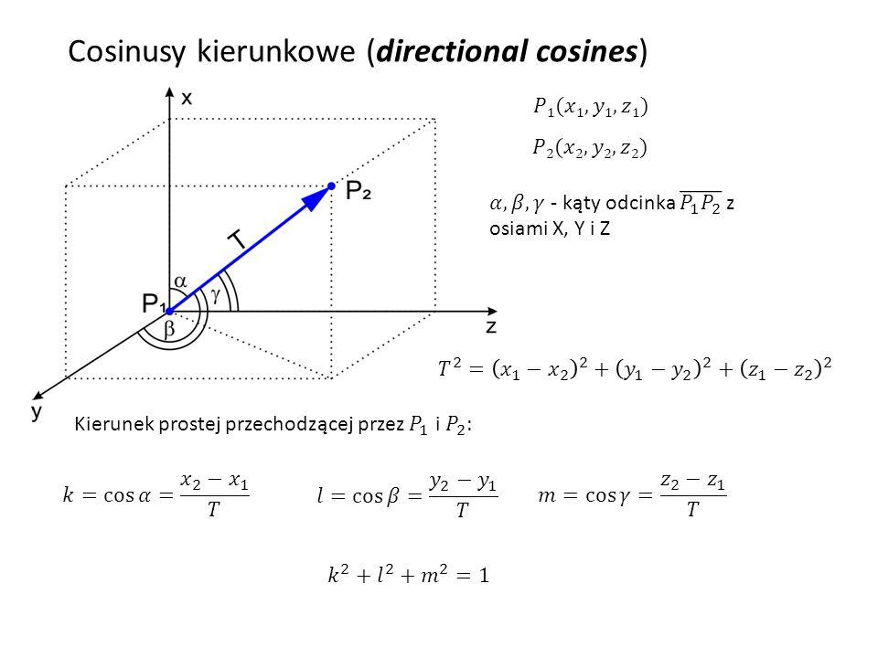 Dzięki takiej notacji można wyznaczyć współrzędne prostej w dowolnym punkcie: Cosinusy kierunkowe (directional cosines)
