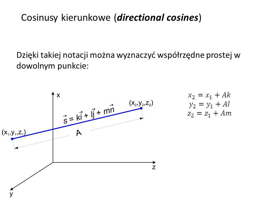 Prawo załamania w notacji cosinusów kierunkowych: Cosinusy kierunkowe (directional cosines) W ZEMAXIE cosinusy kierunkowe promieni oznaczane są jako: X-cosine, Y-cosine, Z-cosine W ZEMAXIE wektory normalne do pow.