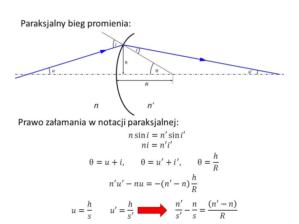 Paraksjalny bieg promienia: Równanie transportu promienia z jednej powierzchni na drugą: Załamanie na powierzchni: