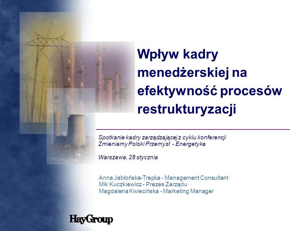 Wpływ kadry menedżerskiej na efektywność procesów restrukturyzacji Spotkanie kadry zarządzającej z cyklu konferencji Zmieniamy Polski Przemysł - Energ