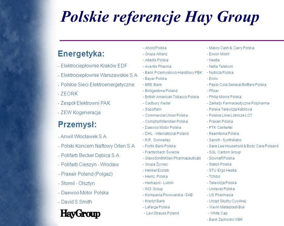 Polskie referencje Hay Group Energetyka: - Elektrociepłownie Kraków EDF - Elektrociepłownie Warszawskie S.A. - Polskie Sieci Elektroenergetyczne - ZEO