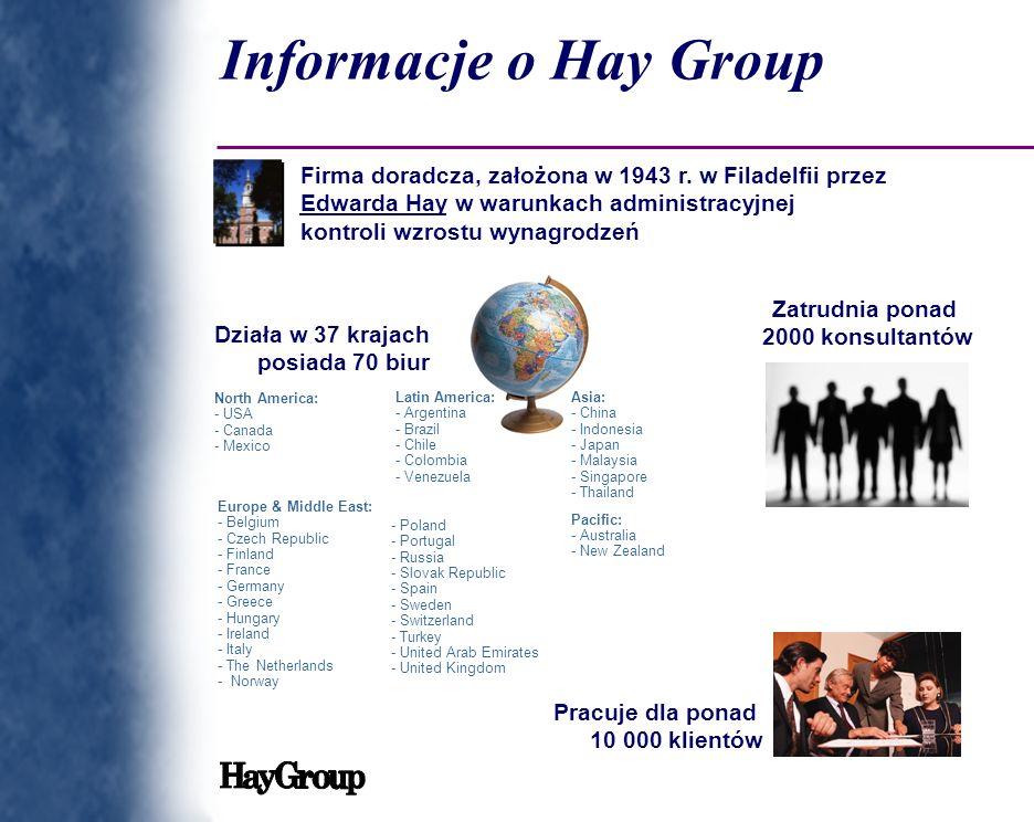 Informacje o Hay Group Firma doradcza, założona w 1943 r. w Filadelfii przez Edwarda Hay w warunkach administracyjnej kontroli wzrostu wynagrodzeń Lat