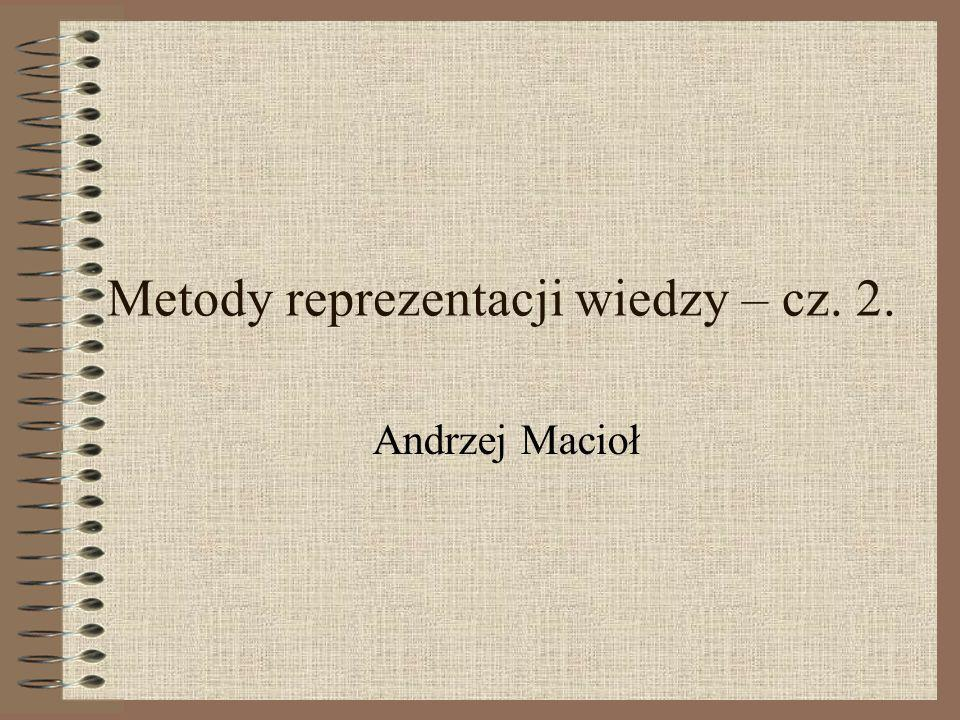 Metody reprezentacji wiedzy – cz. 2. Andrzej Macioł
