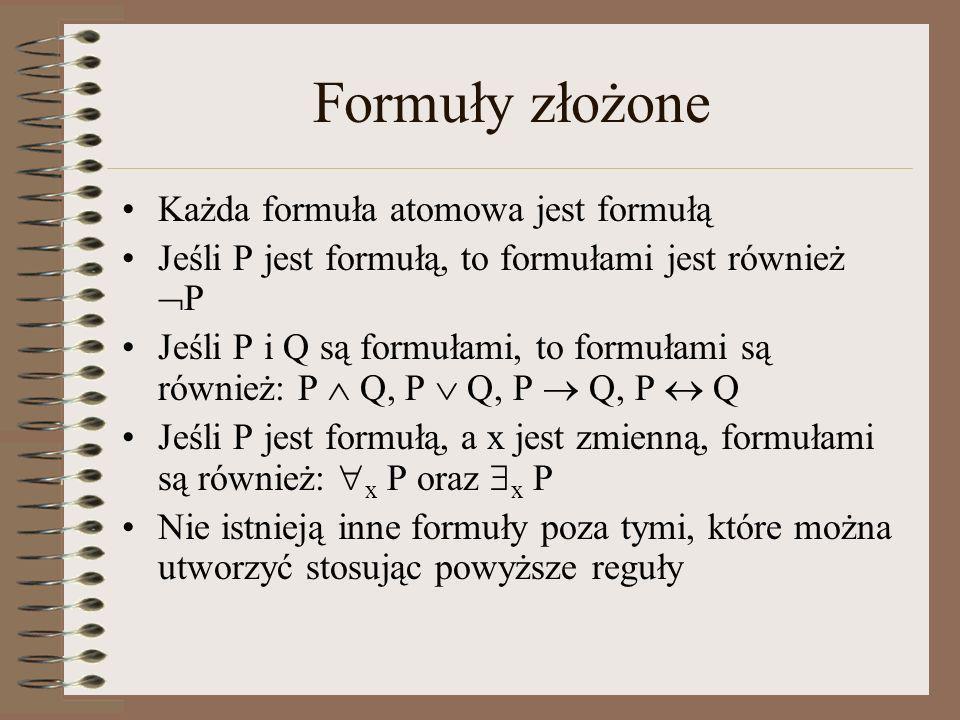 Formuły złożone Każda formuła atomowa jest formułą Jeśli P jest formułą, to formułami jest również P Jeśli P i Q są formułami, to formułami są również