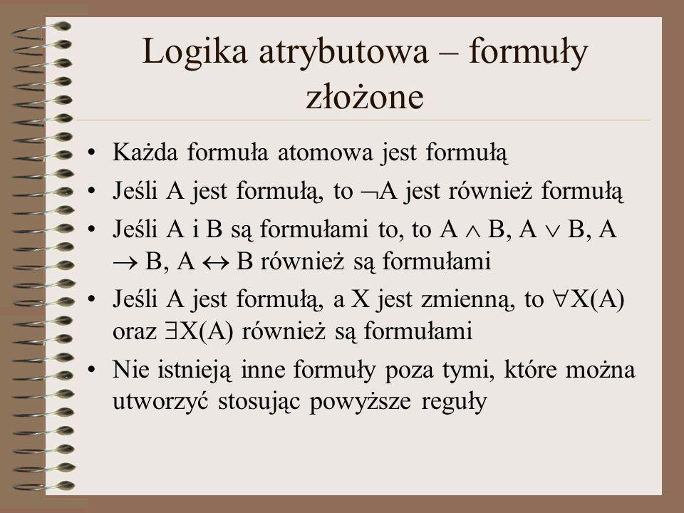 Logika atrybutowa – formuły złożone Każda formuła atomowa jest formułą Jeśli A jest formułą, to A jest również formułą Jeśli A i B są formułami to, to