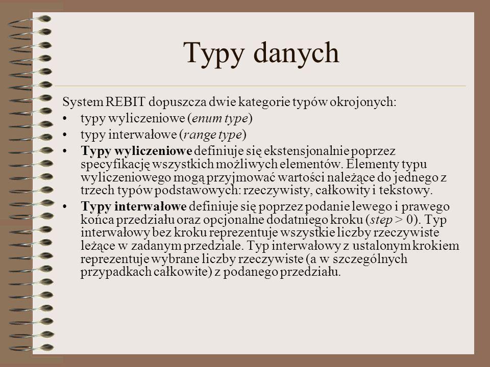 Typy danych System REBIT dopuszcza dwie kategorie typów okrojonych: typy wyliczeniowe (enum type) typy interwałowe (range type) Typy wyliczeniowe defi