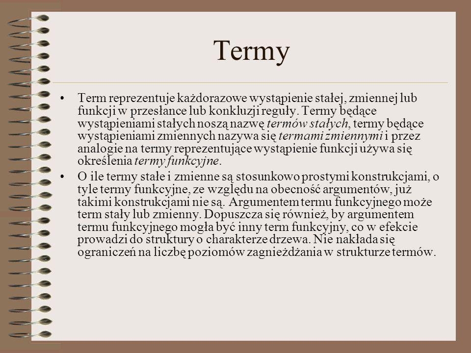 Termy Term reprezentuje każdorazowe wystąpienie stałej, zmiennej lub funkcji w przesłance lub konkluzji reguły. Termy będące wystąpieniami stałych nos