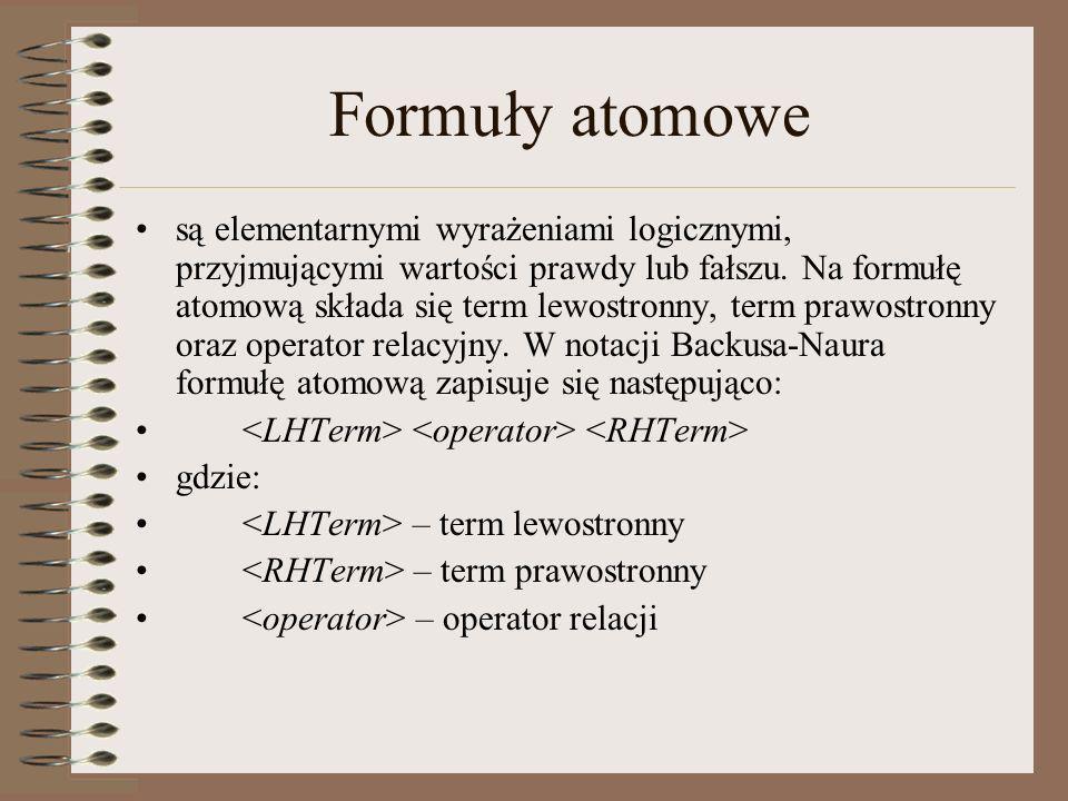 Formuły atomowe są elementarnymi wyrażeniami logicznymi, przyjmującymi wartości prawdy lub fałszu. Na formułę atomową składa się term lewostronny, ter