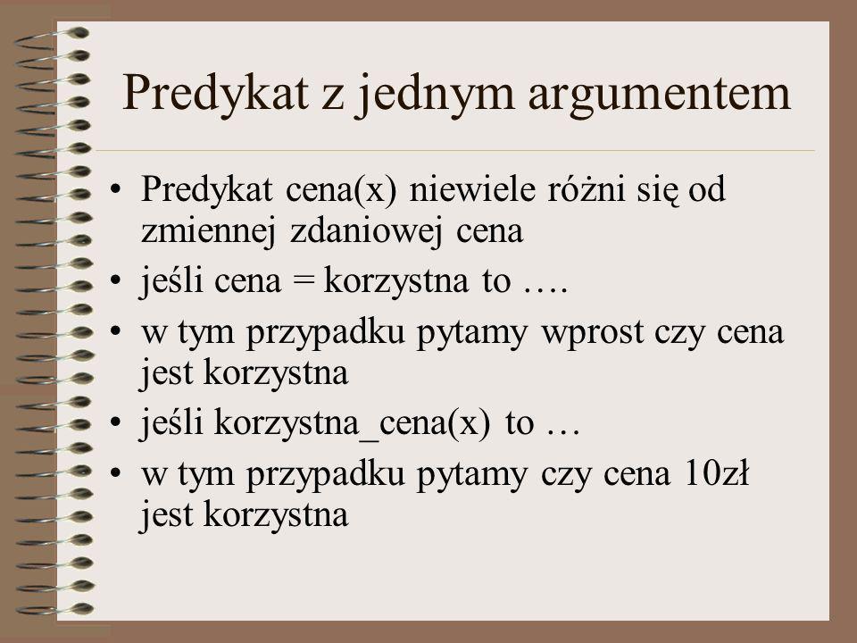 Klauzule Literał – formuła postaci ~a lub a, gdzie a jest dowolna formułą atomową Literały ~a i a nazywamy literałami komplementarnymi Klauzula – alternatywa dowolnej skończonej liczby literałów (formuła bez kwantyfikatorów) Każdy zbiór poprawnie zbudowanych formuł można przekształcić w zbiór klauzul