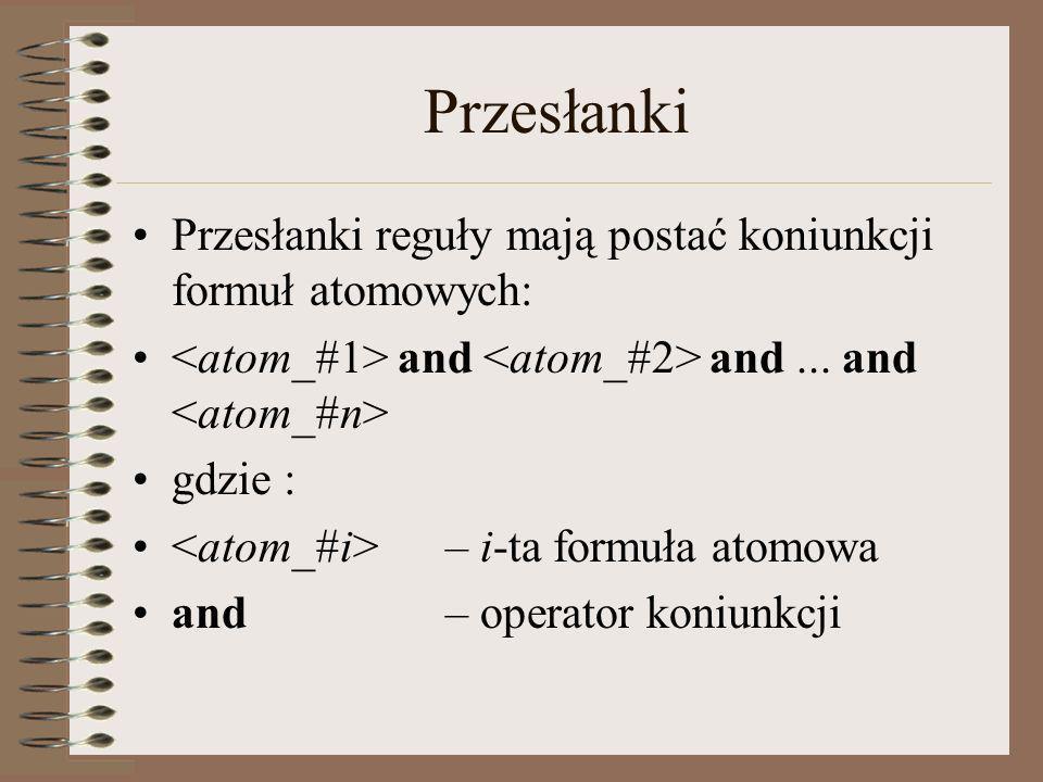 Przesłanki Przesłanki reguły mają postać koniunkcji formuł atomowych: and and... and gdzie : – i-ta formuła atomowa and – operator koniunkcji