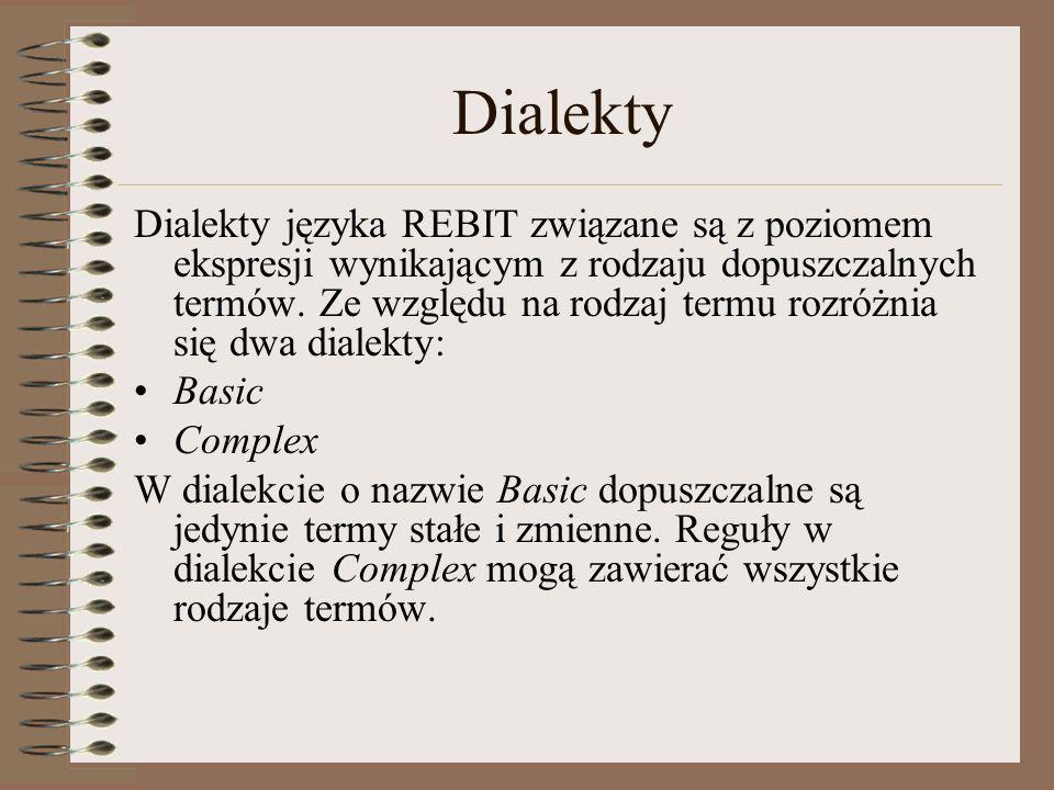 Dialekty Dialekty języka REBIT związane są z poziomem ekspresji wynikającym z rodzaju dopuszczalnych termów. Ze względu na rodzaj termu rozróżnia się