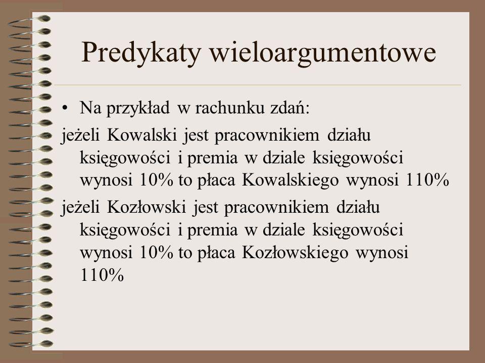 Predykaty wieloargumentowe W rachunku predykatów: jeżeli jest_pracownikiem(X, Y) premia(Y, Z) płaca(X, V) jest_pracownikiem(Kowalski, księgowość) jest_pracownikiem(Kozłowski, księgowość) premia(księgowość, 10%) płaca(Kowalski, 110%) płaca(Kozłowski, 110%)
