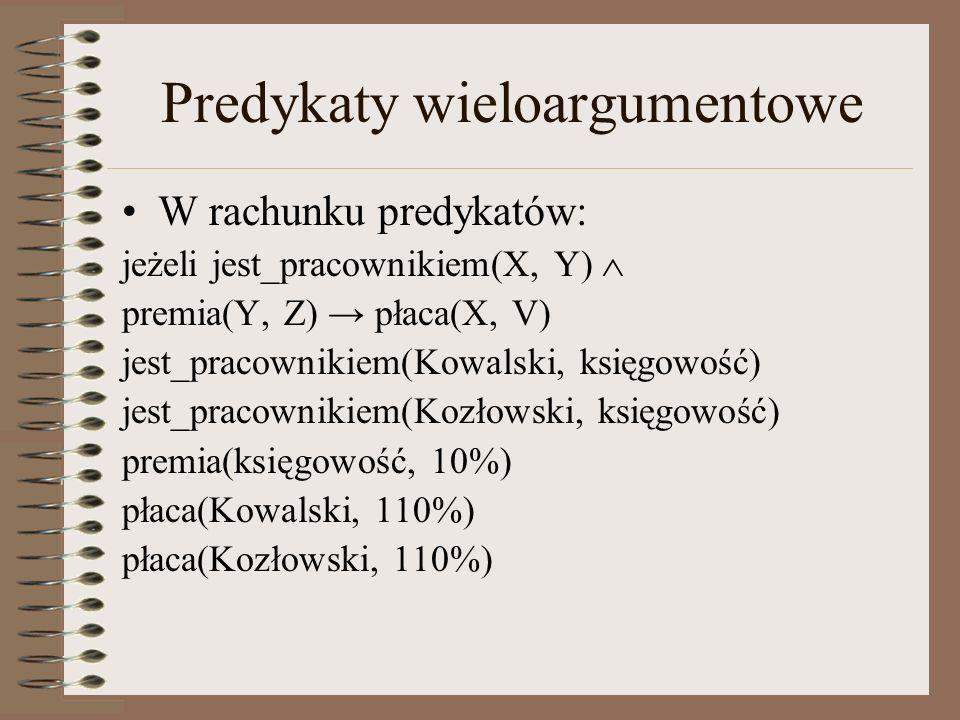 Predykaty wieloargumentowe W rachunku predykatów: jeżeli jest_pracownikiem(X, Y) premia(Y, Z) płaca(X, V) jest_pracownikiem(Kowalski, księgowość) jest
