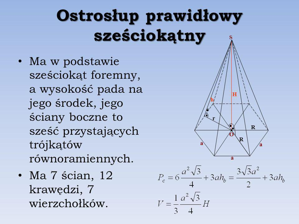 Ostrosłup prawidłowy sześciokątny Ma w podstawie sześciokąt foremny, a wysokość pada na jego środek, jego ściany boczne to sześć przystających trójkątów równoramiennych.