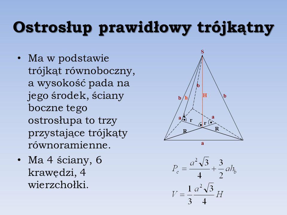 Ostrosłup prawidłowy trójkątny Ma w podstawie trójkąt równoboczny, a wysokość pada na jego środek, ściany boczne tego ostrosłupa to trzy przystające trójkąty równoramienne.