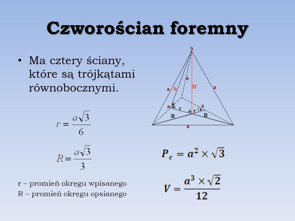 Czworościan foremny Ma cztery ściany, które są trójkątami równobocznymi.