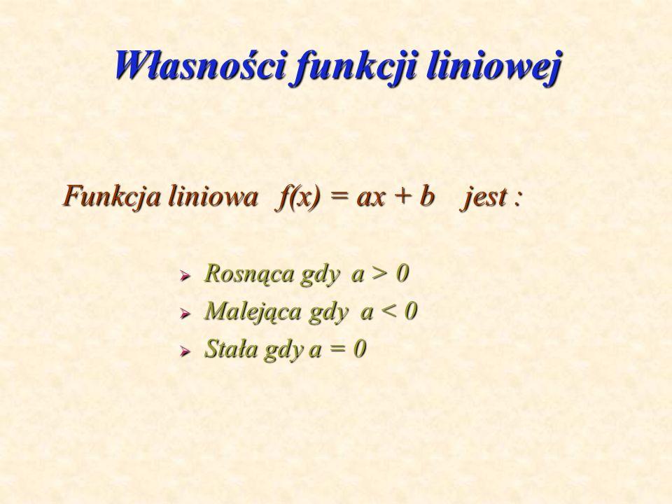 Funkcja liniowa Postać funkcji liniowej : f(x) = ax + b X R Interpretacja geometryczna