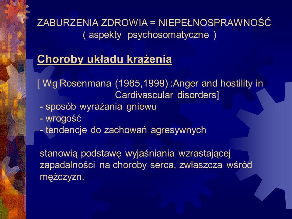 ZABURZENIA ZDROWIA = NIEPEŁNOSPRAWNOŚĆ ( aspekty psychosomatyczne ) Choroby układu krążenia [ Wg Rosenmana (1985,1999) :Anger and hostility in Cardiva