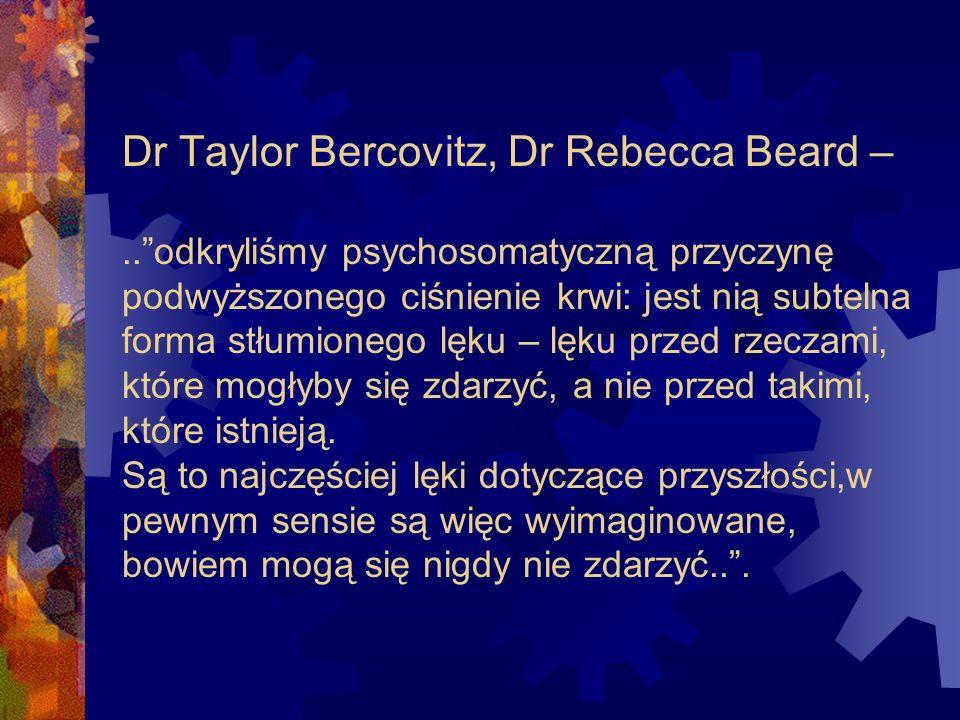 Dr Taylor Bercovitz, Dr Rebecca Beard –..odkryliśmy psychosomatyczną przyczynę podwyższonego ciśnienie krwi: jest nią subtelna forma stłumionego lęku